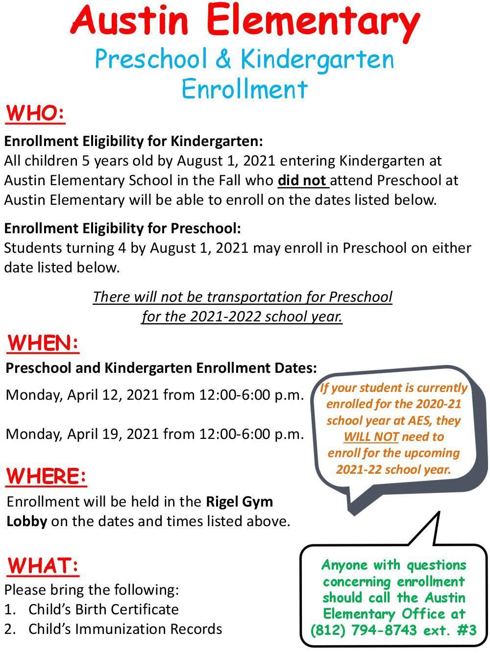 K and PK enrollment