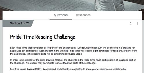 Reading Challenge Response Form